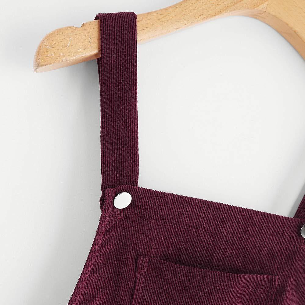 Sleeveless Mini Strap Skirt Womens Straps A-line Corduroy Pinafore Bib Pocket Overall Dress