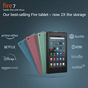 "Fire 7 Tablet (7"" display, 32 GB) - Black + Kindle Unlimited (with auto-renewal)"