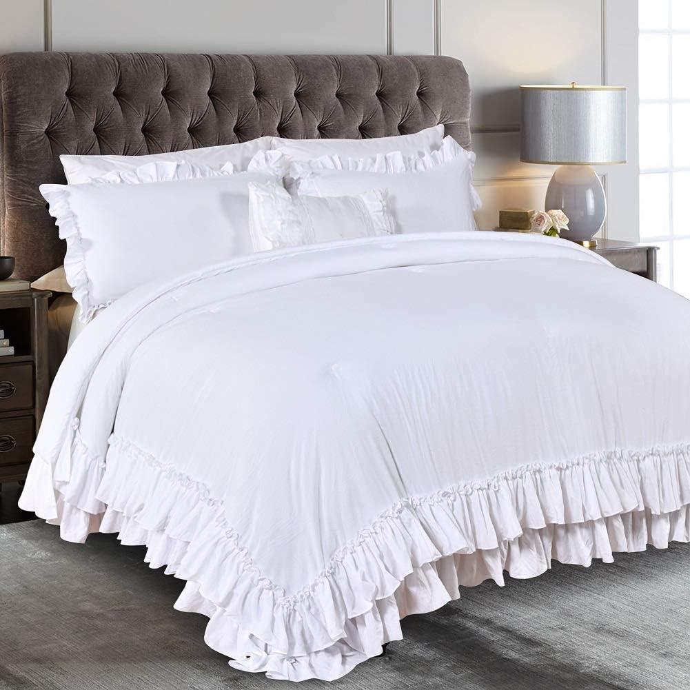 Queen's House Farmhouse Ruffled Comforter Set White King