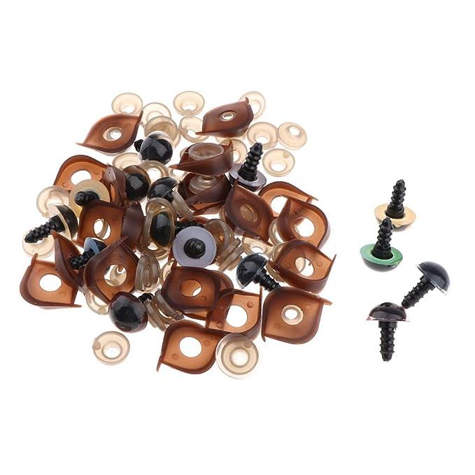 mit Scheiben 0,5-12mm Mikiya 150 St/ück Bunte Kunststoffaugen Kunststoff-Sicherheitsaugen f/ür Teddyb/ären