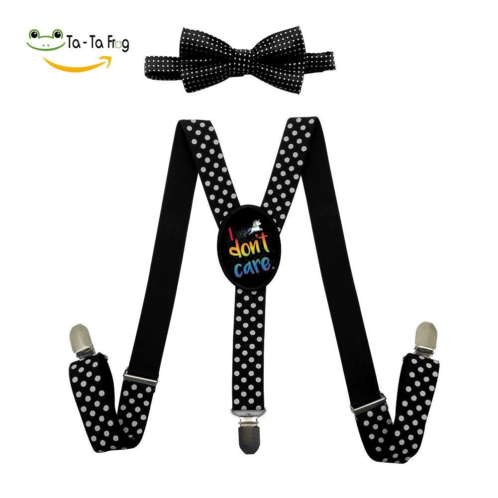 I DonT Care Unisex Kids Adjustable Y-Back Suspenders With Bowtie Set