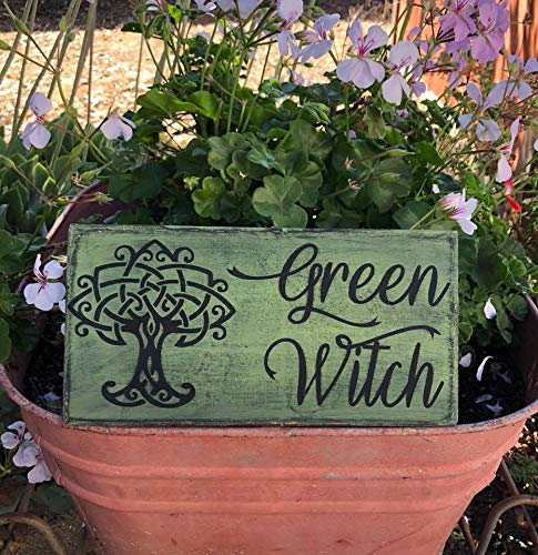 Green Witch Wall Sign Plaque Hand Painted Primitive Witchery Witchy Decor