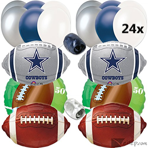Dallas Cowboys Football Party Ultimate 32pc Balloon Pack, Navy Silver White