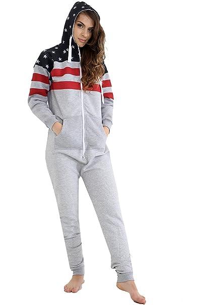 Classyoutfit - Pijama de una Pieza - para Hombre Gris American Flag Small