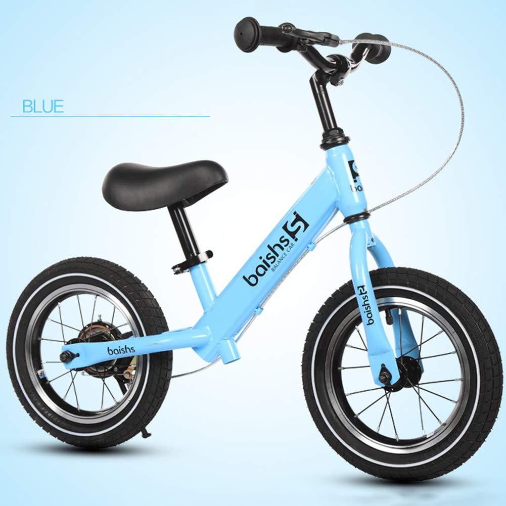 FJ-MC 12  Laufrad, Kein Pedal, mit Handbremse und Luftreifen, Unisex Walking-Trainingsfahrrad, 30kg Kapazität, für 2-5 Jahre alte Kinder,Weiß Blau