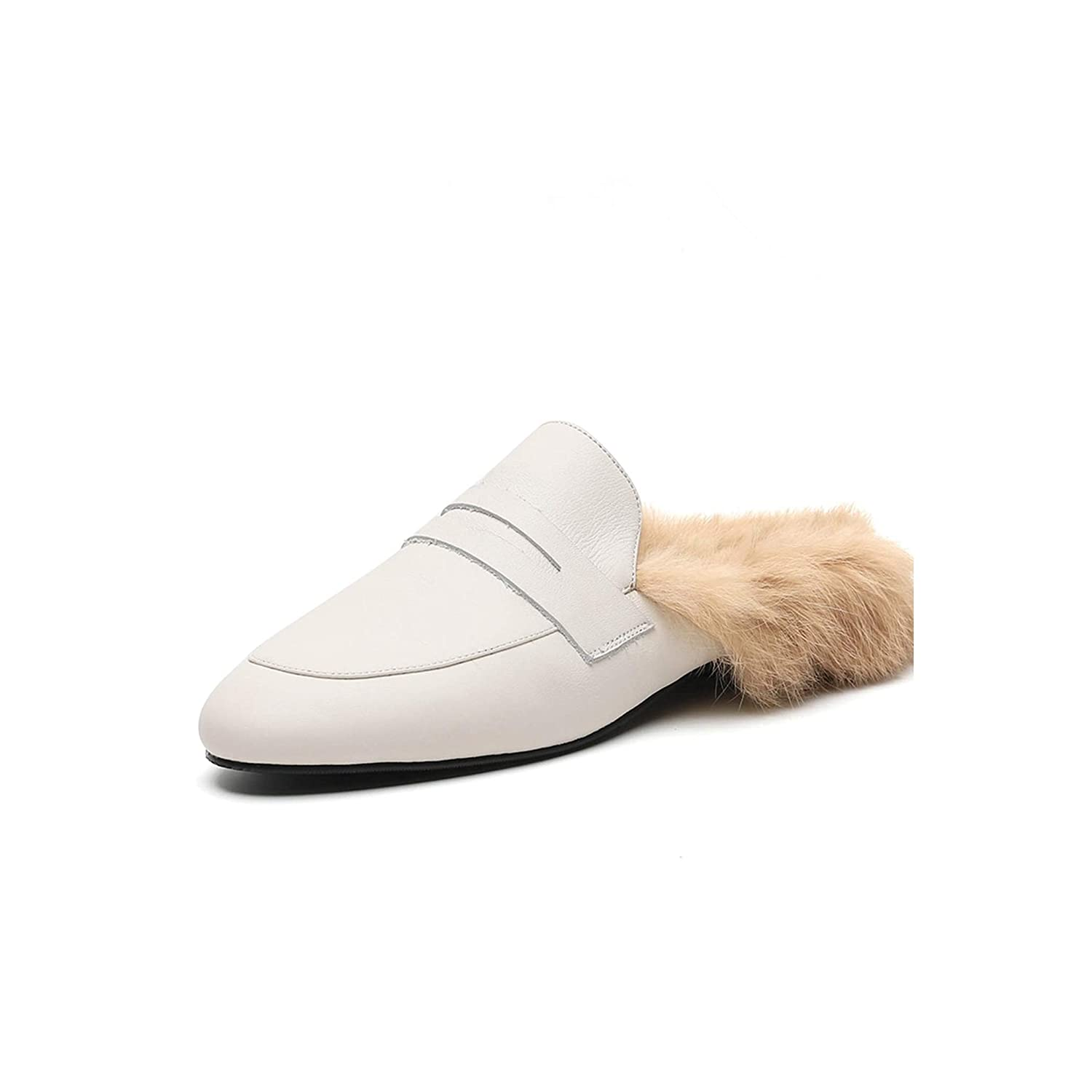 White Spring Popular Women Slippers Round Toe Footwear Casual Warm Female Mules,