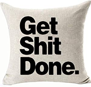 Throw Pillowcases Get Shit Done Best Dorm Room College Essentials for Guys Double Side Pillow Covers for Boys Dorm Room Decor Removable Hidden Zipper Color:Get Shit Done
