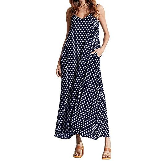 CMrtew ❤️Fashion Sexy Women Dot Printed Pocket Chiffon Boho Long Evening Party Dress (Blue