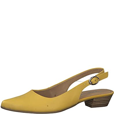 Tamaris Damen Slingpumps 1 1 29400, Frauen Slingback Pumps,Knöchelriemchen,Leder,bequem,Komfort,Sun Leather,40 EU 6.5 UK