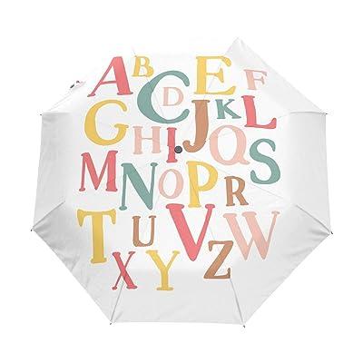Naanle Alphabet English Letter Auto Open Close Foldable Windproof Travel Umbrella