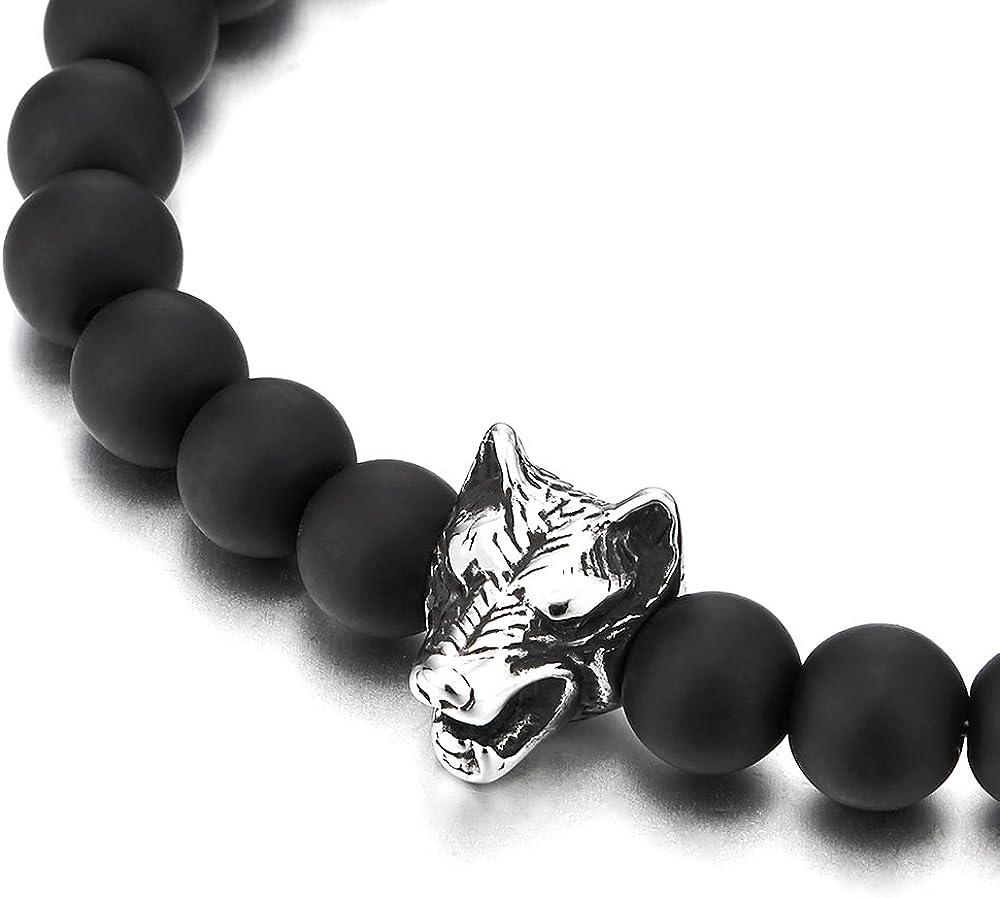 Extensible COOLSTEELANDBEYOND 8MM Mat Perles Onyx Noir Bracelet Homme Gar/çons Acier Inoxydable T/ête de Loup Charme