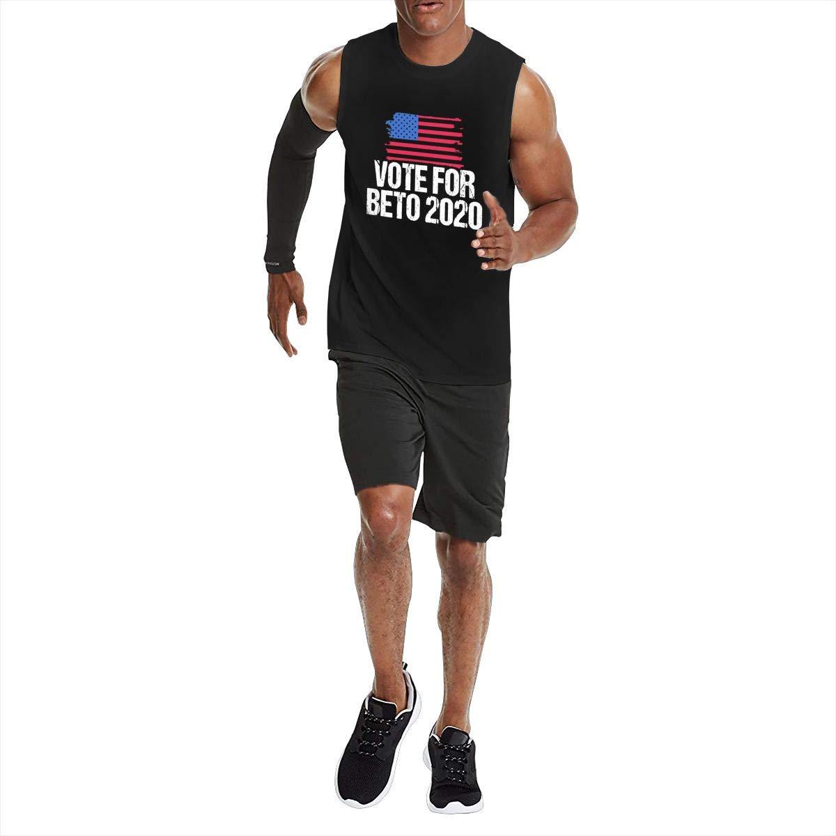 JIELONG Vote for Beto 2020 Mens Sleeveless T-Shirt Muscle T-Shirts Tank Top Black