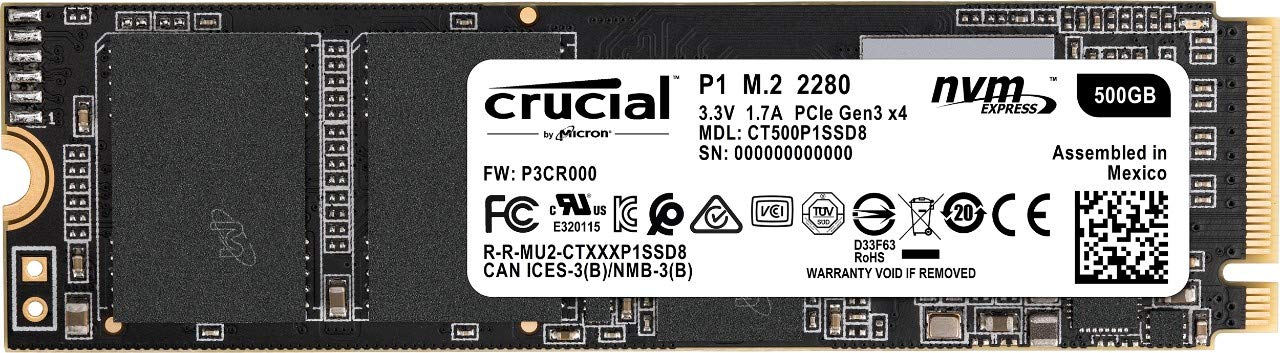 Crucial P1 500GB 3D NAND NVMe PCIe M.2 SSD - CT500P1SSD8