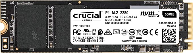 CRUCIAL P1 500GB 3D NAND NVMe PCIe M.2 SSD (CT500P1SSD8) Internal Solid State Drives at amazon