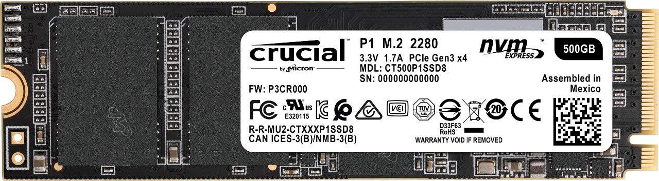 Ssd : Crucial P1 500gb 3d Nand Nvme Pcie M.2 Ssd -...