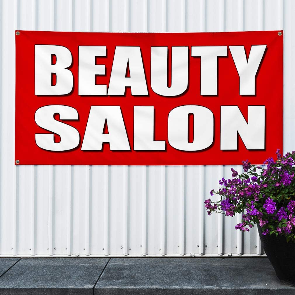 Multiple Sizes Available 8 Grommets One Banner 48inx96in Vinyl Banner Sign Beauty Salon red Business Parlor Outdoor Marketing Advertising Red
