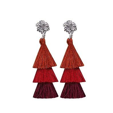 377a7d641 Amazon.com: Women's Tassels Dangle Earrings Handmade Sunshine Elegant  Jewellery Bohemian Style Ethnic Eardrop Drop Tiered Tassel Druzy Stud  Earrings Women ...
