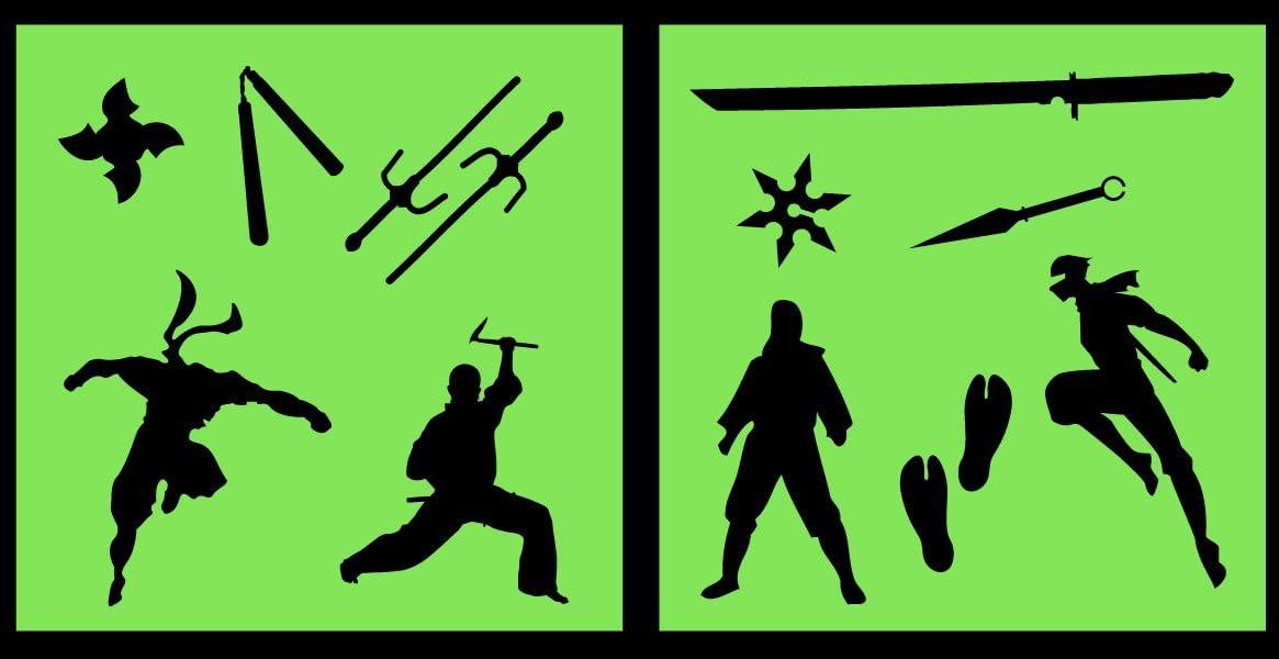 Auto Vynamics - STENCIL-NINJASET01-10 - Detailed Ninjas & Ninja Weapons Stencil Set - Includes Sai, Katana, Nunchaku, Multiple Ninjas! - 10-by-10-inch ...