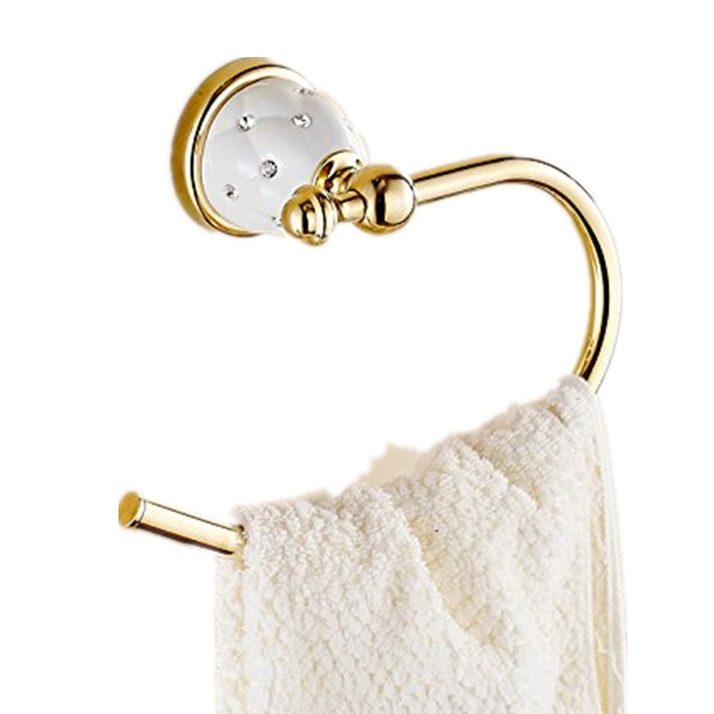 AUSWIND Antique Gold Polished Solid Brass Towel Ring With Ceramic Star Diamond Base Wall Mounted Bathroom Accessories Sets L3 (Open Towel Ring)