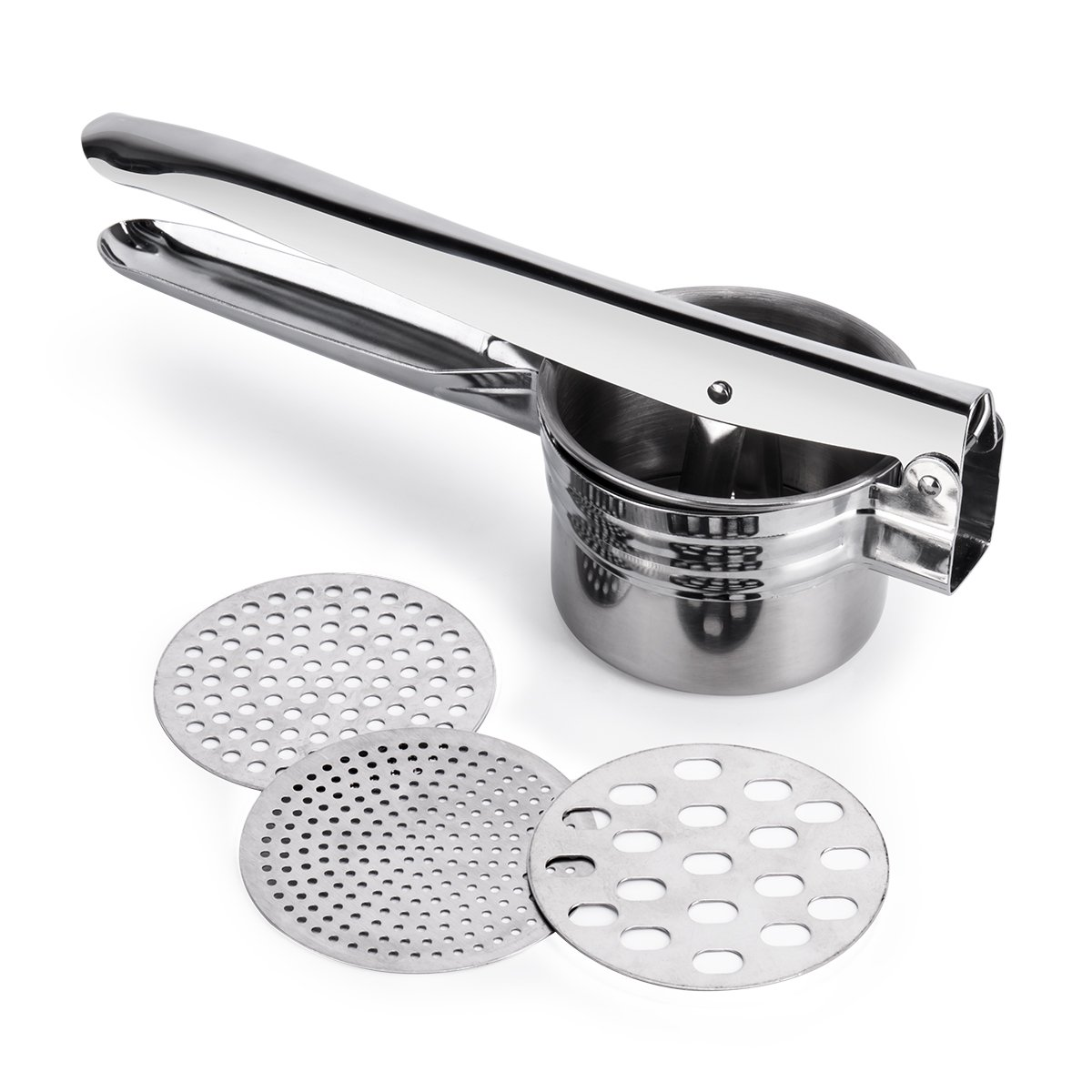 Potato Ricer and Masher, BeautyKitchen Stainless Steel Potato Ricer with 3 Interchangeable Disks Premium Stainless Steel Baby Food Strainer, Fruit Masher, and Food Press with Ergonomic Comfort Grip