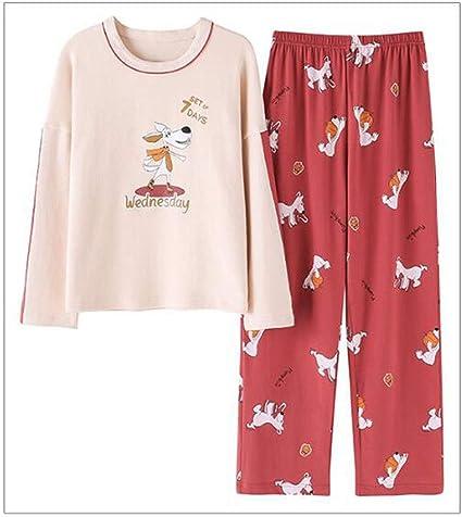 GJ Pijamas, Damas de Manga Larga Pijamas de algodón ...