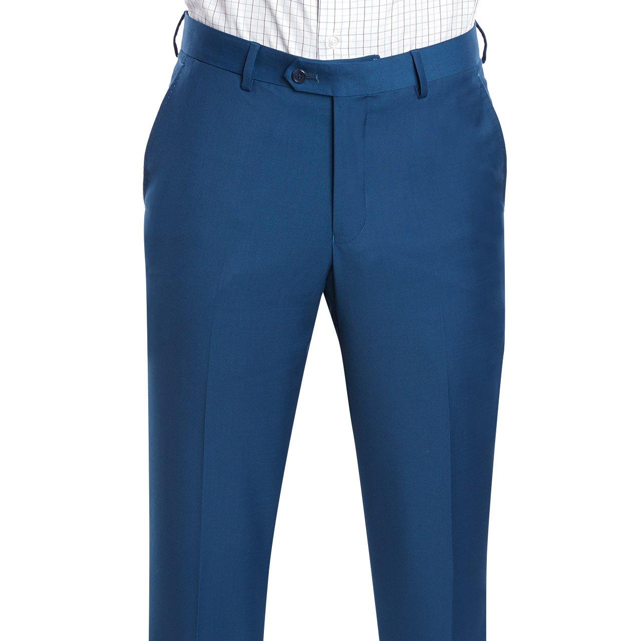 Mens Slim Fit Notched Lapel 3 Piece Suit Set Designed by Taheri French Blue 80/20(US 36R / EU 46R / Waist 30) by Sebastian Taheri Uomo (Image #4)
