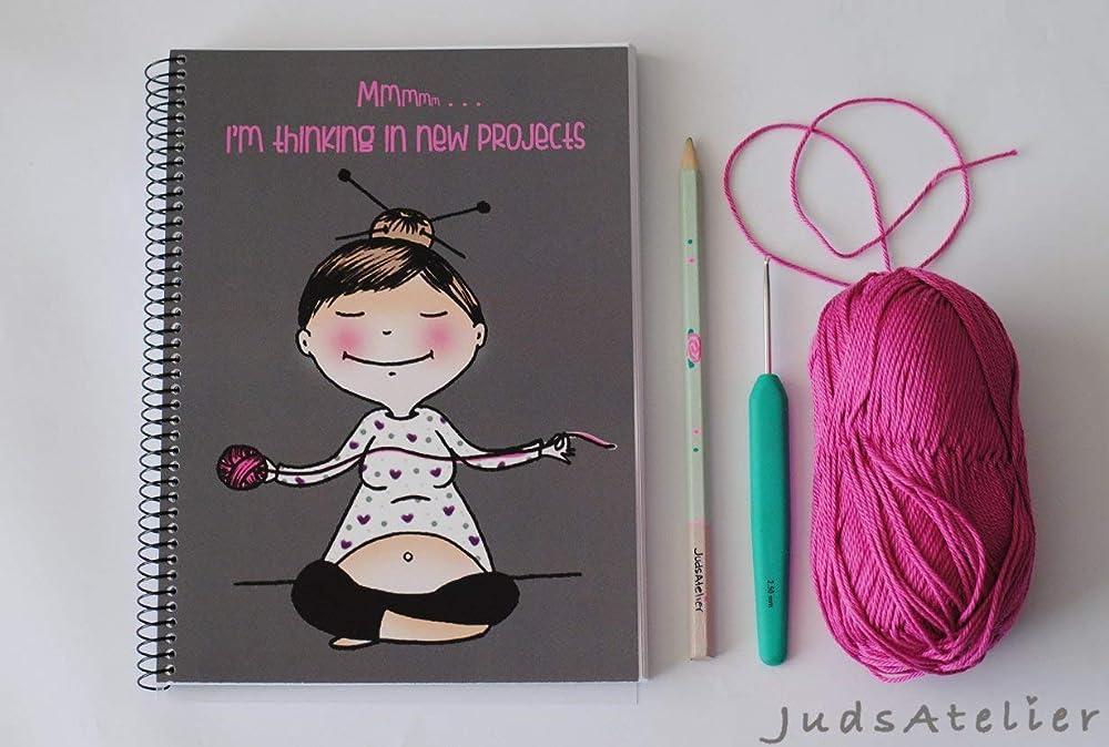 Yoga, libreta A5 especial tejedoras, cubiertas ilustradas con chica meditando y pensando en proyectos nuevos, interior con 100 hojas blancas, espiral ...