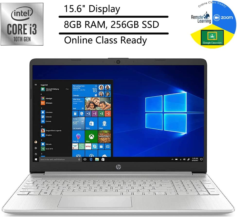 """2020 Newest HP 15 Laptop Computer_ 10th Gen Intel Core i3 1005G1_ 15.6"""" Display_ 8GB DDR4 RAM_ 256GB SSD_ Bluetooth 4.2_ Type-C_ Silver_ Windows 10 in S_ Online Class Ready_ Webcam_ BROAGE Mouse Pad"""