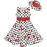 Sunny Fashion LL61 Girls Dress Hat White Black Dot Cherry Dancing Party Size 4-5
