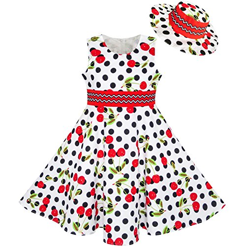 LL61 Girls Dress Hat White Black Dot Cherry Dancing Party Size 4-5