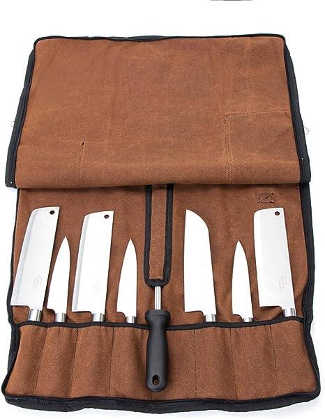 HANSHI Chefs Knife Roll Bag, Estuche de Almacenamiento de Cuchillos de Lona Encerada, Bolsa de Herramientas para Sous Chefs, Cocineros, Estudiantes de Cocina HGJ527: Amazon.es: Deportes y aire libre