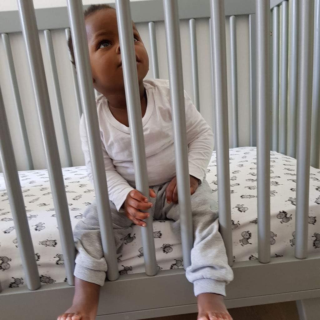 Zebra Cot Crib Fitted Sheet 100/% Soft Cotton Little Acorn 120x60cm Unisex