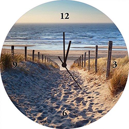 Artland Qualitätsuhren I Funk Wanduhr Designer Uhr Glas Funkuhr Größe: 35 Ø Strand Meer Creme J4JJ