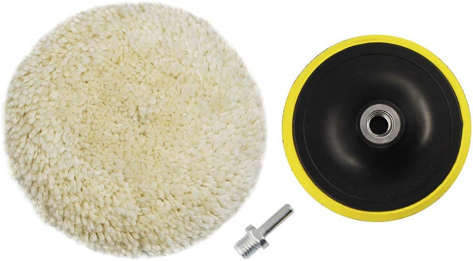 ANAHAF Wool Polishing Buffing Pads Kit Car Polishing Buffing Wheel for Drill 6 inch 100% Natural Wool Hook & Loop Grip Buffing Pad with M14 Drill Adapter