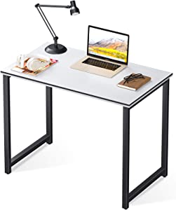 Coleshome Computer Small Student School Writing Desk 31 inch,Work Home Office Desk for Small Space, Study Kids White Desktop with Black Edge
