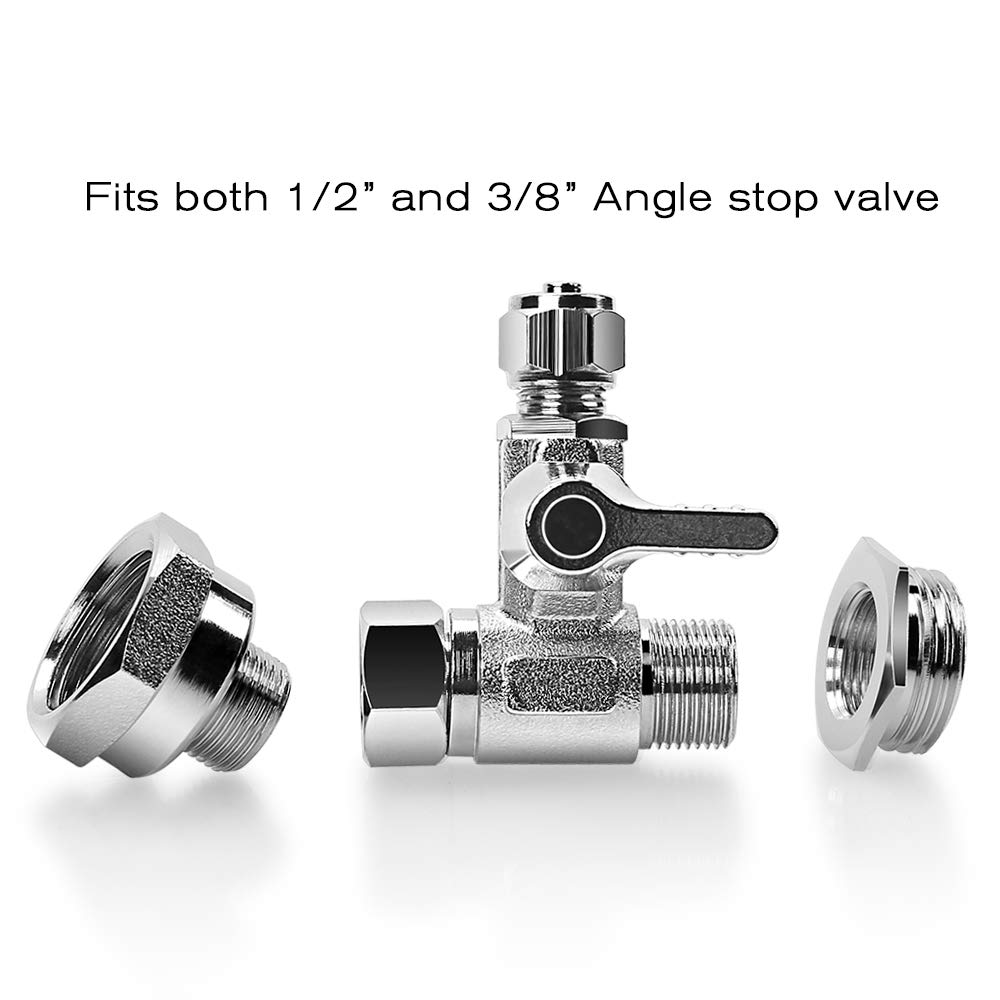 """Frizzlife 1/2"""" and 3/8"""" Brass Feed Water Adapter - 3/8"""" Comp with 1/2"""" Converter Fitting and 1/4 inch OD Compression Angle Stop Valve Adapter for Reverse Osmosis Water Filters, Coffee Brewers"""