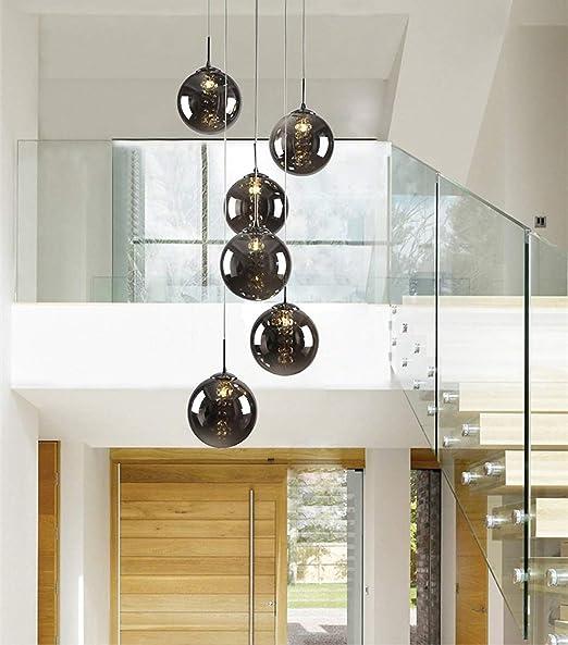 6 Bola de cristal Colgante DIY Luz Comedor Lámpara de araña Altura ajustable Escalera giratoria Luz Sala de estar Restaurante Dormitorio Luz colgante Luz (Color : B): Amazon.es: Hogar