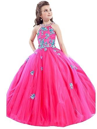 Amazon.com: BoShi Little Girls\' Dimonds Appliques Ball Gowns Kids ...