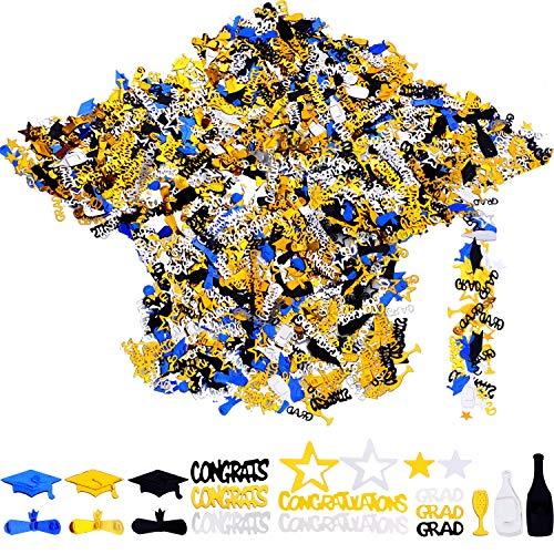 - Chinco 4.23 oz Graduation Confetti Table Confetti Graduation Hat Stars Wine Bottle Patterns Confetti for 2019 Graduation Party Supplies, 4000 Pieces