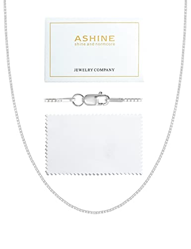 39b0f784863 ASHINE Sterling Silver Chain Necklace for Girl 1mm Box Chain Lobster Clasp  16 Inches