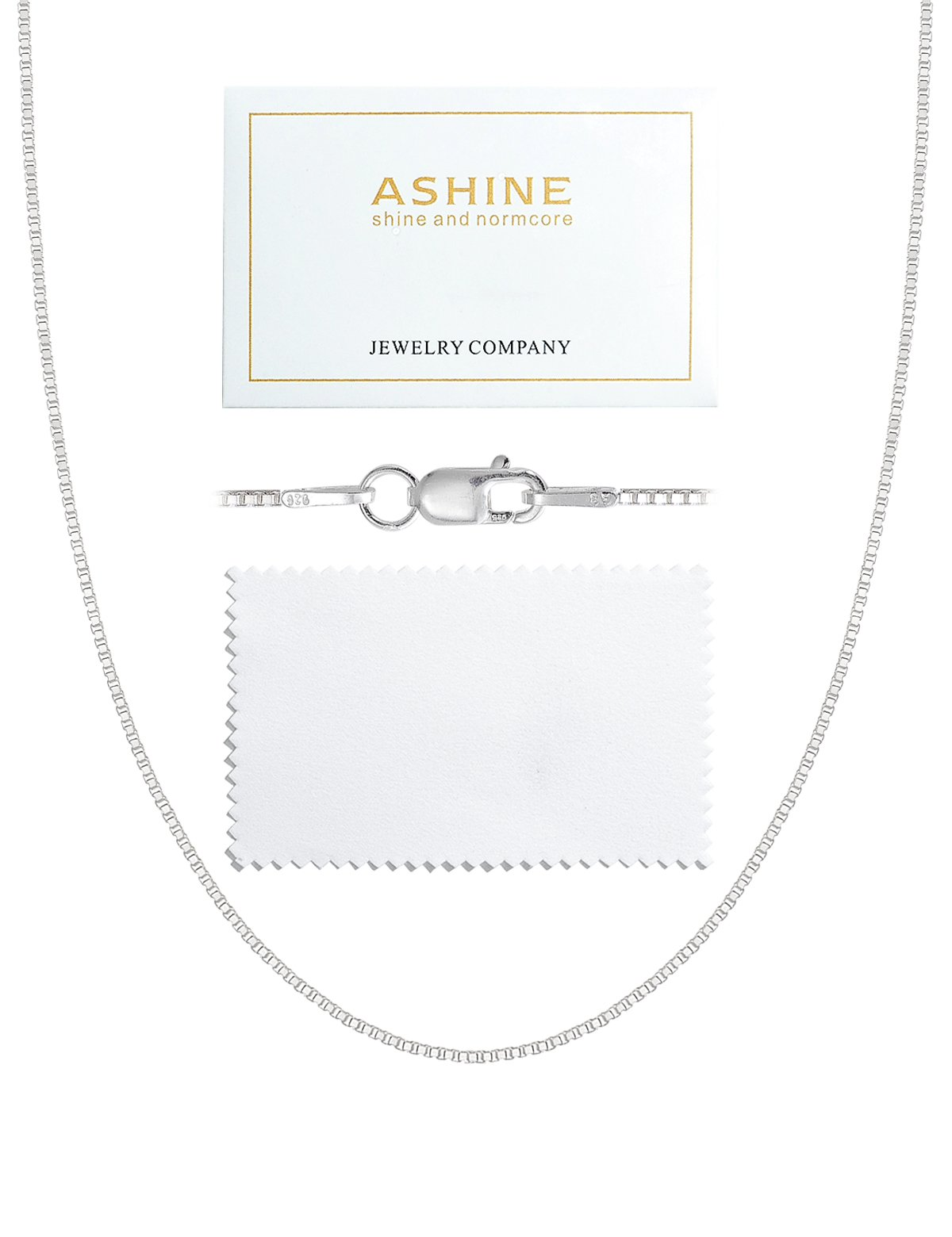 ASHINE 30 Inches 925 Sterling Silver 1mm Box Necklace Chain Solid Nickle-Free Necklace For Women lobster clasp chain Italian Crafted Necklace With Silver Polishing Cloth