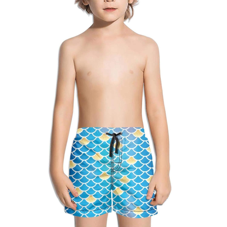 Etstk Mermaid Scale Kids Lightweight Beach Shorts for Boys