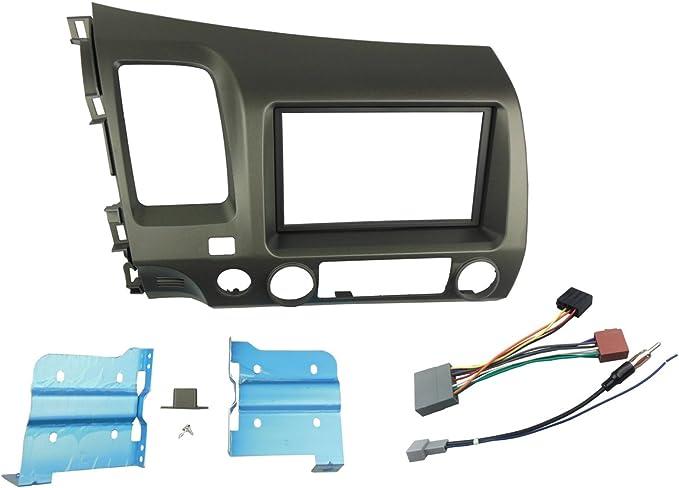 dkmus doble DIN Radio Estéreo Dash Instalar Soporte Trim Kit para Honda Civic 2006 – 2011 con la antena Arnés 178 * 102 mm apertura Gris Left Hand ...
