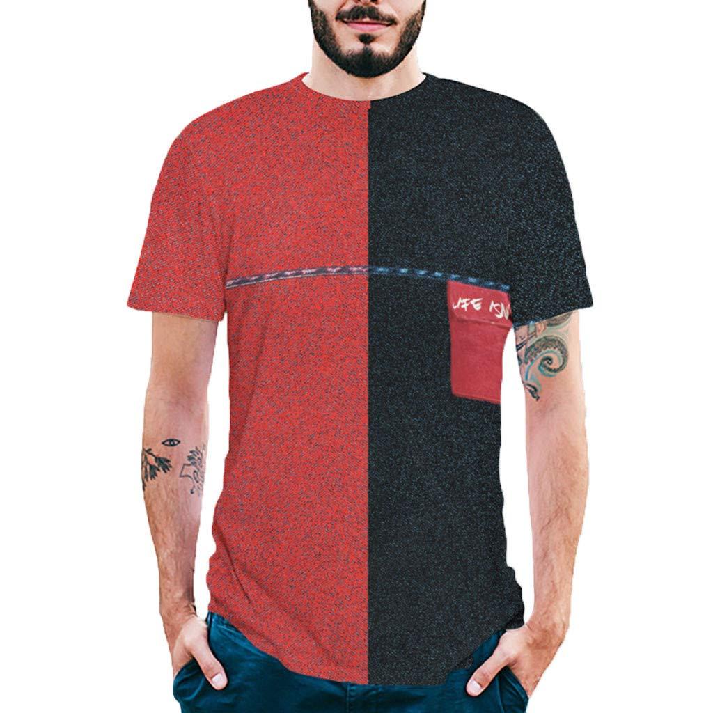 Camiseta de Manga Corta para Hombre Coincidencia de Colores Cuello Redondo Cómodo Transpirables Bolsillo en el Pecho Deportivo Casual Jogging Negro + Rojo MMUJERY