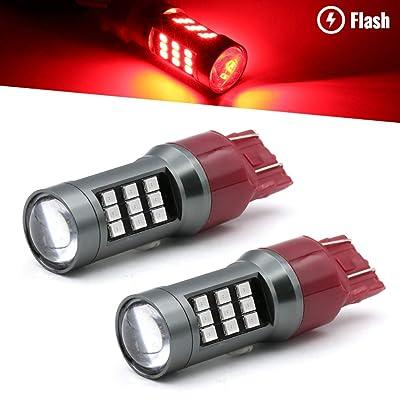 Syneticusa 7443 Red LED Stop Brake Flash Strobe Rear Alert Safety Warning 33-LED Light Bulbs: Automotive