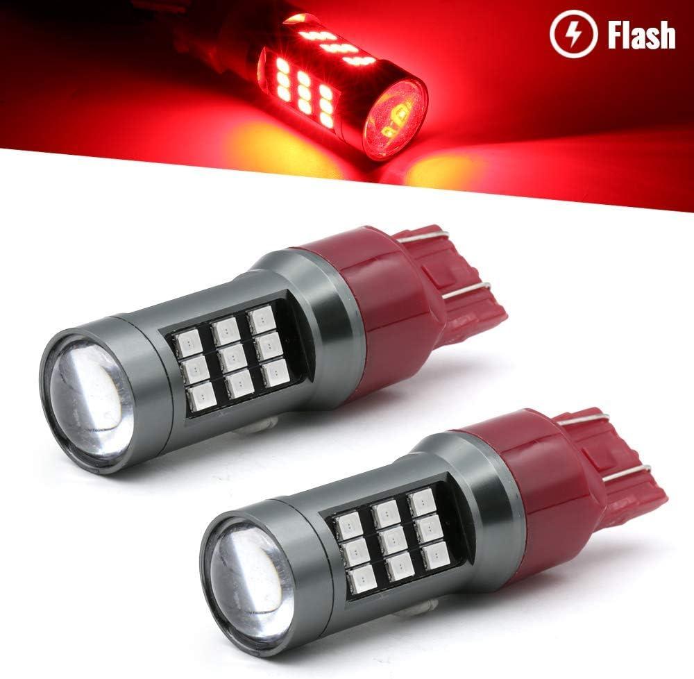 Syneticusa 7443 Red LED Stop Brake Flash Strobe Rear Alert Safety Warning 33-LED Light Bulbs