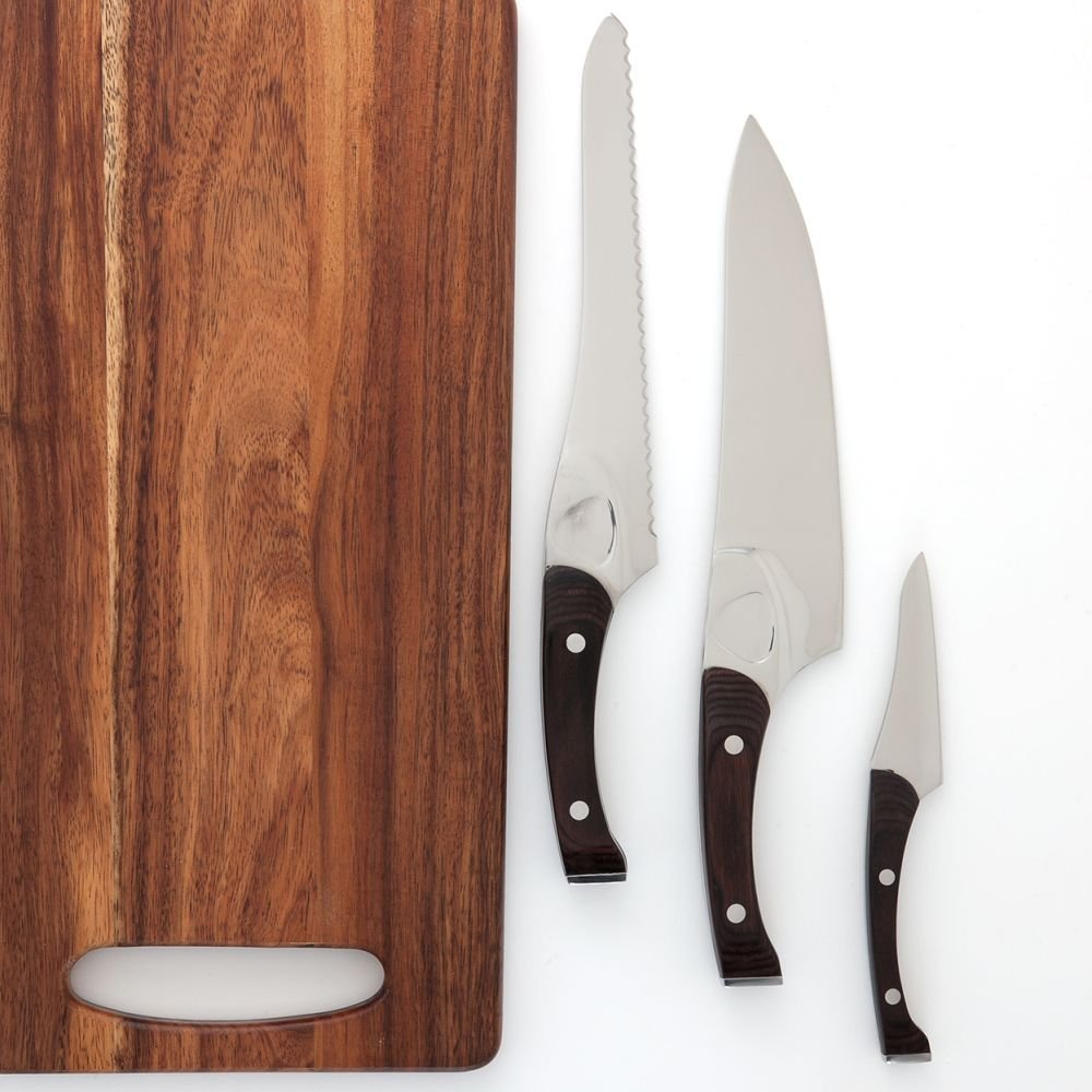 Knork 171 Pakkwood Cutlery Chef Knife, 3 + 1 Piece Set, Silver