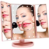 Geecol Tri-Fold Lighted Makeup Vanity Mirror with 21 LED Lights, LED Light Up Cosmetic Mirrors with 1x/2x/3x/10x…