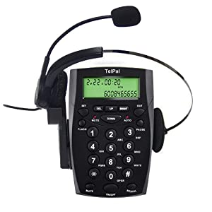 TelPal Corded Call Center Headset Telephone with Dialpad & Monoral Noise Cancelling Headphone HA0021, Wired Analog Home & OfficeTelephone Set Landline