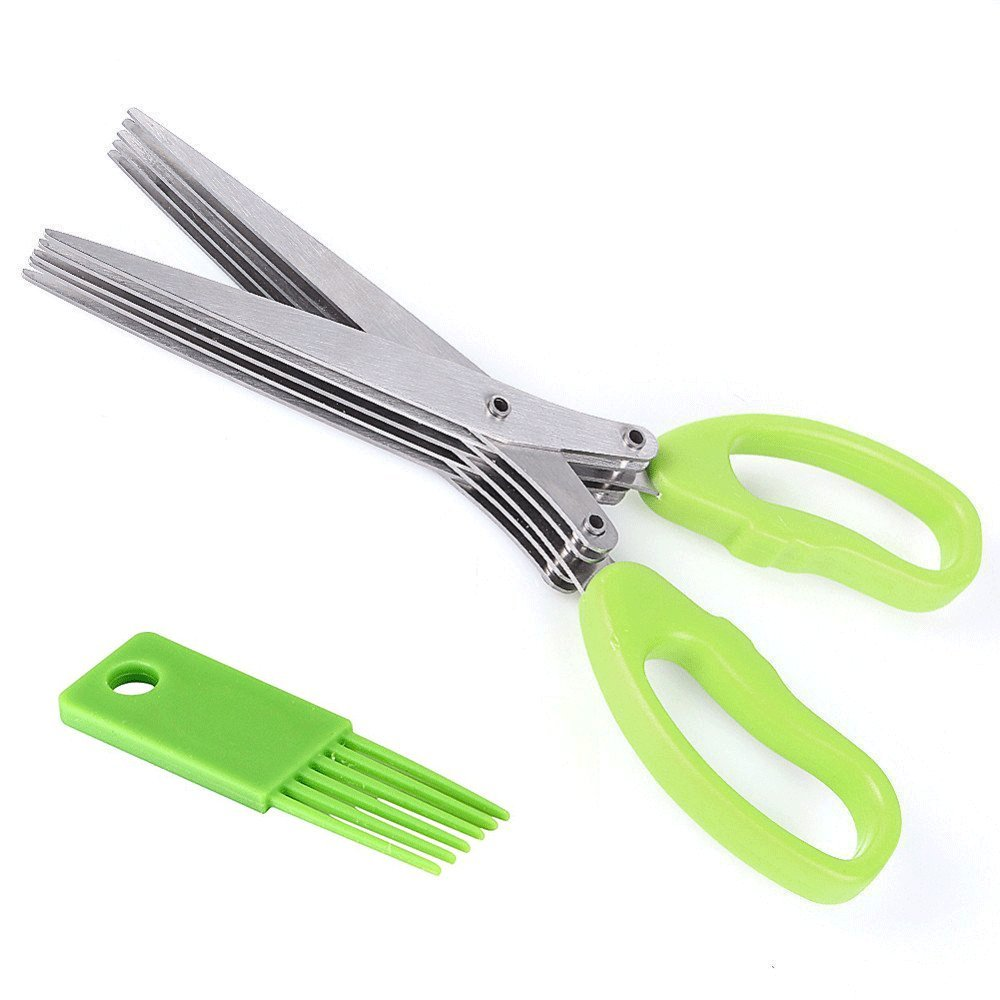 Annic Stainless Steel Herb Scissors - Multipurpose Kitchen Shear with 5 Blades